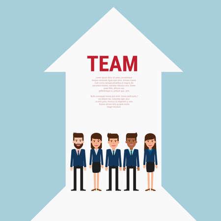 team concept: Successful business team with growth arrow. Teamwork concept. Flat design style.Cartoon Vector Illustration. Illustration