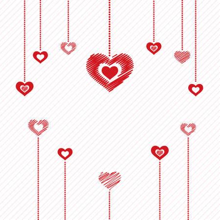 resumen de antecedentes día de San Valentín con corazones colgantes. Ilustración del vector.