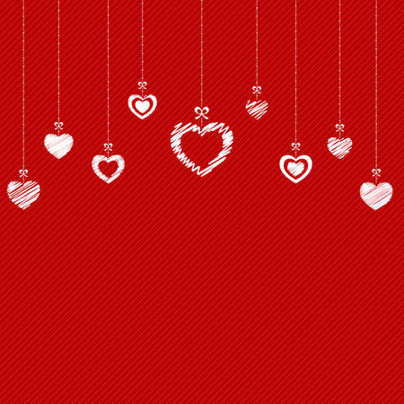 hangings: Valentine`s Day abstract background with hanging hearts. Vector Illustration.