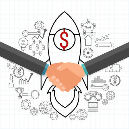 cooperate: Businessman handshake Cooperate and teamwork concept with icons set. Project startup. Cartoon Vector Illustration. Illustration