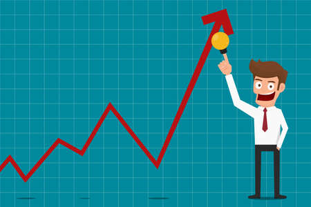 Businessman pointing raises growth graph with idea. Business concept financial success. Cartoon Vector Illustration.