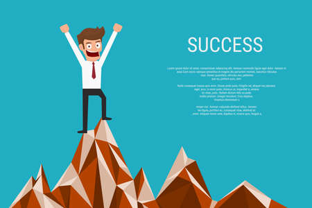 happiness or success: Successful businessman standing on top of mountain. Success concept. Cartoon Vector Illustration.