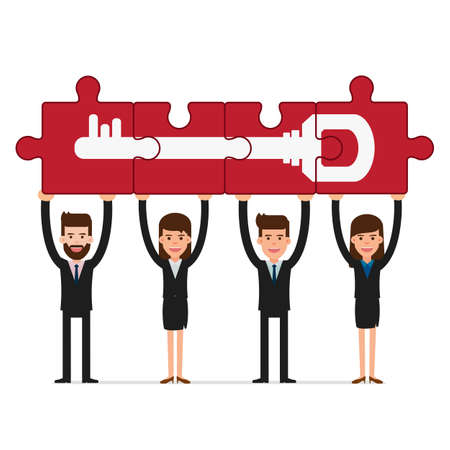 puzzle business: Teamwork concept. Business people holding puzzle success key. Cartoon Vector Illustration.