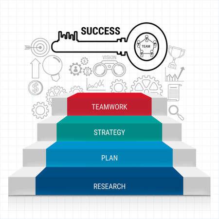 paso de la escalera con llave éxito y el conjunto de iconos de la infografía. Escalera al éxito. Puede ser utilizado para el diseño de flujo de trabajo, bandera, diagrama, diseño web, plantilla de infografía. Ilustración vectorial de dibujos animados.