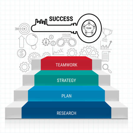 Stair step with sucess key and icons set infographics. Staircase to success. Can be used for workflow layout, banner, diagram, web design, infographic template. Cartoon Vector Illustration.