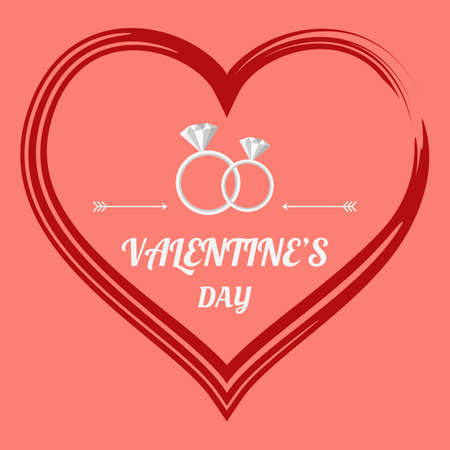 wedding day: Valentine`s Day with wedding rings. Vector Illustration. Illustration