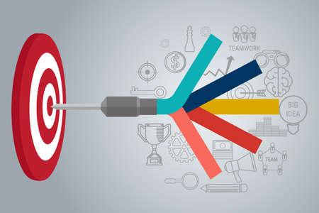 Affaires Target concept de infographique. L'établissement d'objectifs. but intelligent. Peut être utilisé pour la mise en page workflow, bannière, diagramme, conception de sites Web. Vector Illustration.