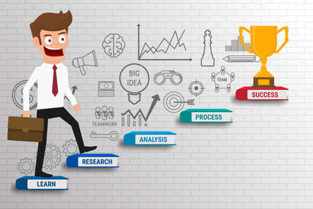 study: Empresario caminando sobre la escala de la carrera hecha de libros. paso de la escalera de trofeo y el éxito. Escalera al éxito. Ilustración vectorial de dibujos animados. Vectores