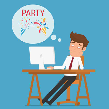 inactive: Tired businessman thinking about relax and party. Cartoon Vector Illustration.