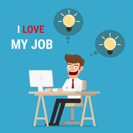 jobs cartoon: I love my job. Businessman working  on computer and get idea. Cartoon Vector Illustration.