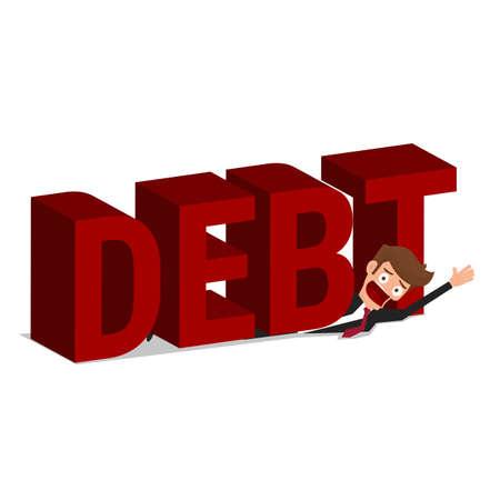 heavy risk: Businessman under word Debt. Debt concept. Cartoon Vector Illustration.