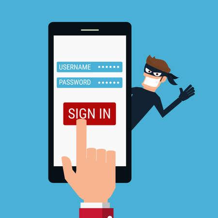 ladron: Ladrón. Hacker robar datos confidenciales como contraseñas de un smartphone útil para las campañas anti-phishing y los virus de Internet. Concepto de la piratería red social de Internet. Ilustración vectorial de dibujos animados.