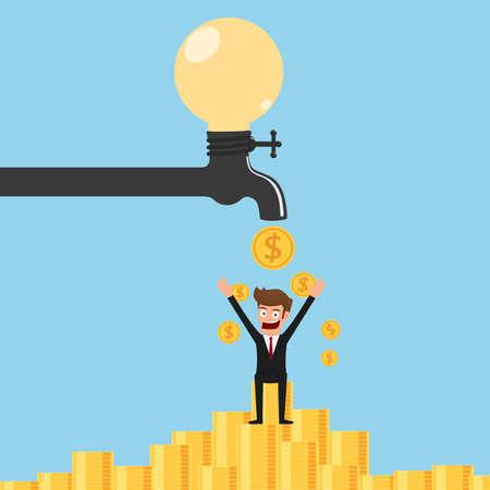 passive income: Faucet Idea process to be money. Passive income concept. Cartoon  Vector Illustration.