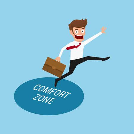 De negocios que salta fuera de la zona de confort para el éxito. Ilustración vectorial de dibujos animados.