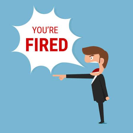 patron: jefe enojado diciendo que usted es despedido palabra. Ilustración vectorial de dibujos animados.