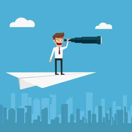 vision future: Businessman flying on paper plane using telescope looking for success, opportunities, future business trends. Vision concept. Cartoon Vector Illustration. Illustration