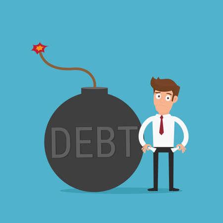 difficult mission: Businessman no money. Debt bomb. Debt concept. Cartoon Vector Illustration. Illustration