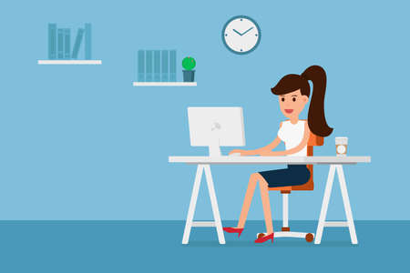 woman working: Business woman working on computer and coffee in paper cup, flat design style. Cartoon Vector Illustration. Illustration