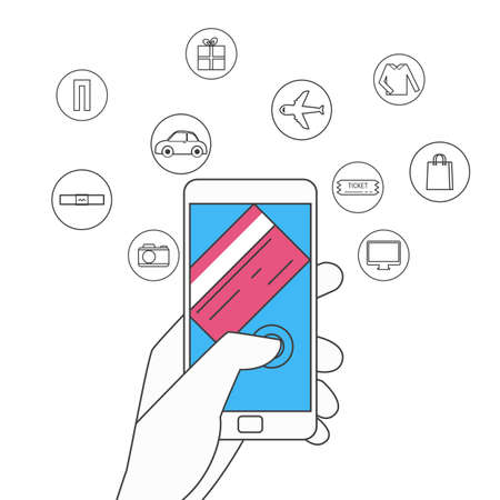 tarjeta de credito: diseño de la línea plana. Las compras en línea y el concepto de pago por móvil. Mano que sostiene teléfono inteligente con iconos conjunto. Ilustración vectorial de dibujos animados.