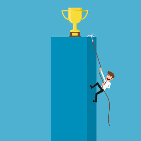 ambitions: businessman climbing to trophy and success. Cartoon Vector Illustration. Illustration