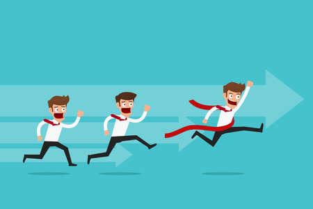 business competition: Business competition concept. businessman competitive business. Cartoon Vector Illustration.