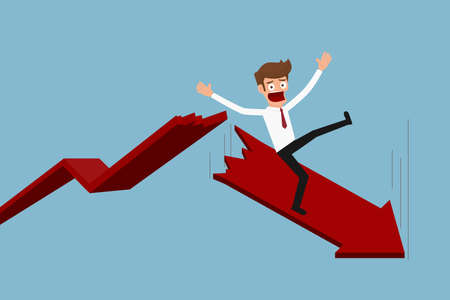 Businessman with falling down trend graph. Bankruptcy concept. Business failure. Cartoon Vector Illustration.