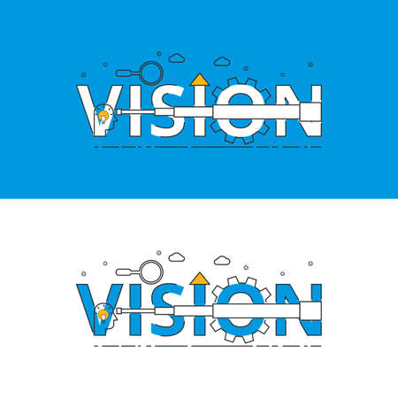 vision mission: Flat line design vision concept with icons and elements. Can be used for book cover, report header, presentation,infographics, printing, website banner. Vector Illustration.