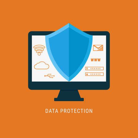 sensitive: Flat design data security. Shield on computer protect sensitive data. Internet security. Vector Illustration. Illustration