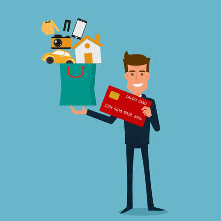debt: Happy businessman holding credit card and shopping bag with icons. Flat design style. Cartoon Vector Illustration.