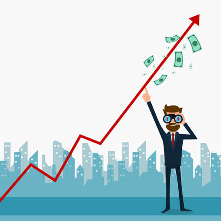 rebound: Businessman using binoculars looking for growth chart ,money and pointing finger to raise the graph get a lot of money. Chart growth and success concept. Cartoon Vector Illustration. Illustration