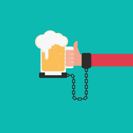 handcuff: Beer chained to handcuff in hand. Alcoholism concept. Cartoon Vector Illustration.