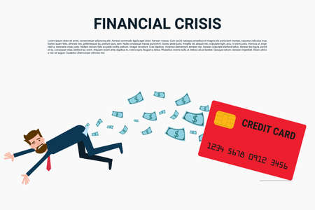 slave: Financial crisis. Businessman with credit card ,debt concept. Cartoon Vector Illustration. Illustration
