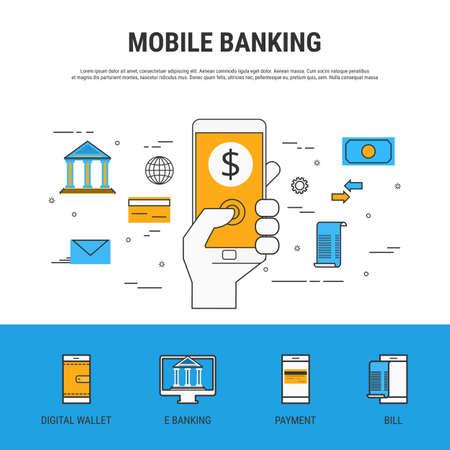 Flat line design style. Mobile banking concept. Cartoon Vector Illustration.