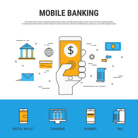 cartoon bank: Flat line design style. Mobile banking concept. Cartoon Vector Illustration.