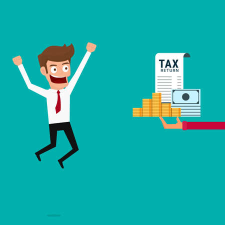 tax return: Businessman get money return. Tax return concept. Cartoon Vcetor Illustration.