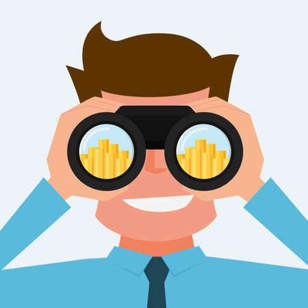 prospects: Businessman Looking for money. Vision and investment concept. Cartoon Vector Illustration. Illustration
