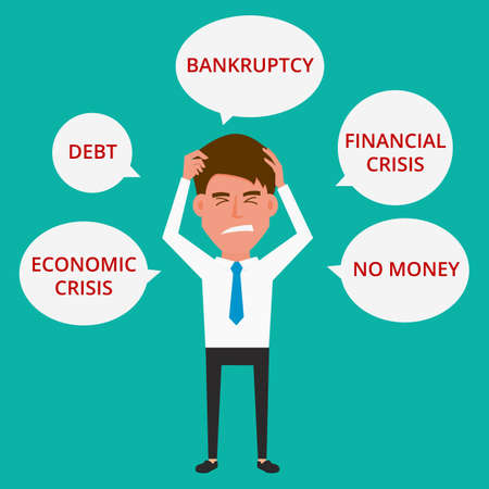 with no money: Businessman no money. Cartoon Vector Illustration.