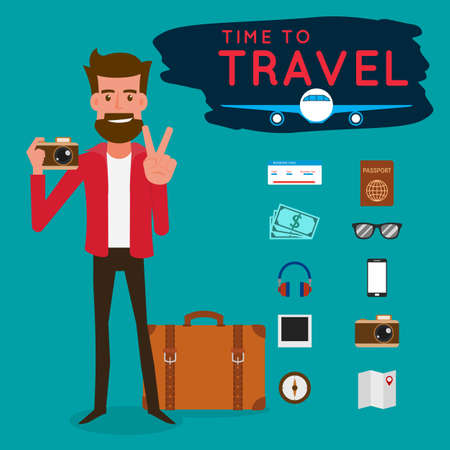 tourists: Lets Go Travel. Tourist with gadget for travel. Character design. Cartoon Vector Illustration. Illustration