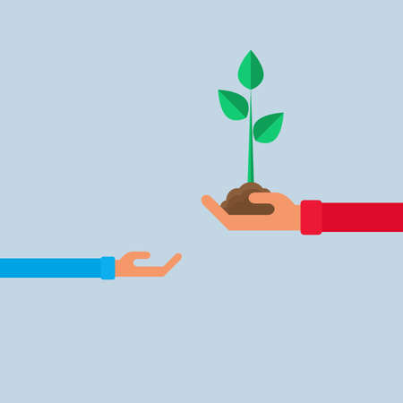 agronomy: Young plant in hand. Teach child plant a tree. Cartoon Vector Illustration.