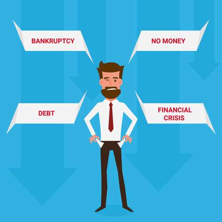 penniless: Businessman no money. Cartoon Vector Illustration.