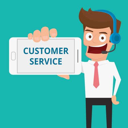 customer service phone: Businessman holding smart phone show message CUSTOMER SERVICE. Cartoon Vector Illustration. Illustration