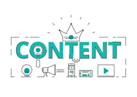 Flache Linie Design Wortinhalt Konzept von Inhalten für digitales Marketing mit Symbolen und Elementen. Kann für Buchcover, Berichtskopf, Präsentation, Infografiken, Druck, Website-Banner verwendet werden. Vektor-Illustration.