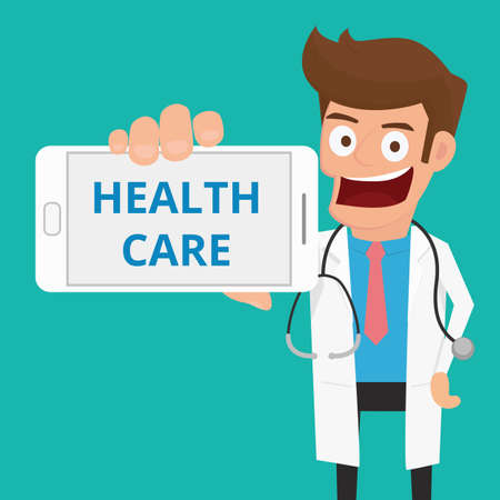 médecin intelligent tenant CARE message SANTÉ téléphone spectacle intelligent. Cartoon Vector Illustration. Vecteurs