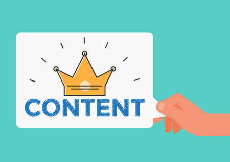 Hand holding Content is the king message. Content marketing. Cartoon Vector Illustration. Stock Illustratie