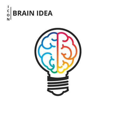 Creative brain idea and light bulb concept. Line flat design style. Vector Illustration.