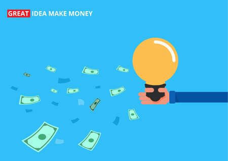 attract: Hand holding idea and attract money. Great idea make money concept. Cartoon Vector Illustration.