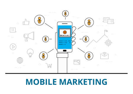 mobile website: Flat line design mobile marketing with icons and elements. Mobile marketing concept. Can be used for book cover, report header, presentation,infographics, printing, website banner. Vector Illustration.