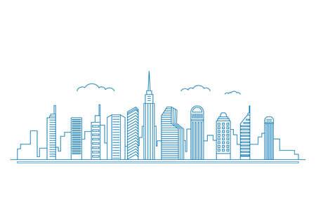 linear art: Flat line design style Urban Cityscape. Real Estate concept. Vector Illustration. Illustration