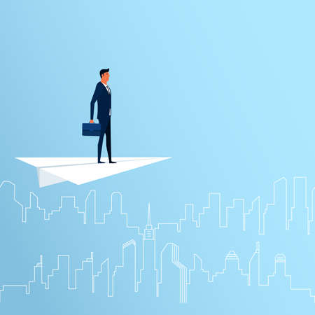 business trends: Businessman flying on paper plane looking for success, opportunities, future business trends. Vision concept. Cartoon Vector Illustration. Illustration