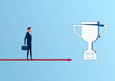 business trends: Businessman standing on arrow graph approach to trophy and success, opportunities, future business trends. Cartoon Vector Illustration. Illustration